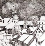 Ville de l'hiver en noir et blanc Photographie stock libre de droits