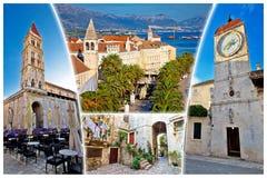 Ville de l'UNESCO de carte postale de touriste de Trogir Photo stock