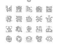 Ville de la future ligne mince Bien-ouvrée icônes de vecteur parfait de pixel illustration de vecteur