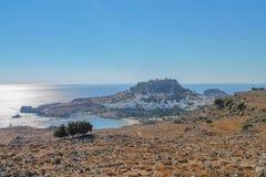 Ville de Lindos, Rhodes, Grèce images stock