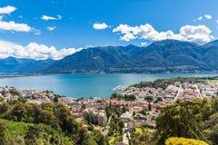 Ville de Locarno et lac Mggiore Images libres de droits