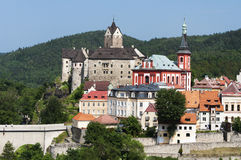 Ville de Loket, République Tchèque Photos stock