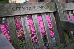 Ville de Londres, le banc Image stock