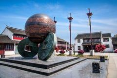 Ville de Luzhi, ville de Suzhou, et x22 ; trois coins& x22 ; sculpture Photographie stock