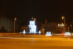 Ville de Madrid la nuit Photo stock