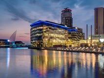 Ville de media, quais de Salford, Manchester Photographie stock