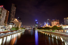 Ville de Melbourne et fleuve de Yarra grand-angulaire Photo libre de droits
