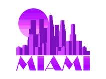 Ville de Miami Gratte-ciel d'isolement sur le fond blanc Vecteur Photo stock