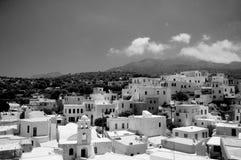 Ville de Nisyros en Grèce noire et blanche image stock
