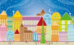 Ville de Noël Image libre de droits