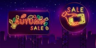 Ville de nuit Néon de signe mot rouge de vente de lames d'automne Panneau-réclame lumineux Bannière, logo, emblème et label d'Aut illustration stock