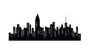 Ville de nuit sur le fond transparent Silhouette de villes de vecteur illustration de vecteur