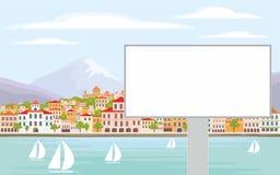 Ville de panneau d'affichage et de bord de la mer Images stock