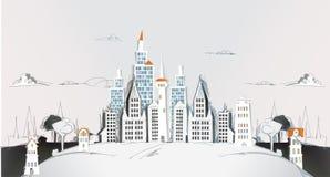 Ville de papier déchirée, collection de ville Images libres de droits
