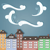 Ville de papier sous des nuages. Photographie stock libre de droits