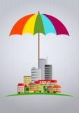 Ville de parapluie Image stock