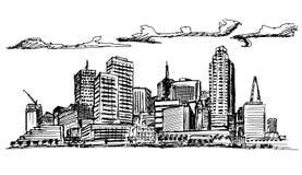 Ville de paysage sur le fond blanc Image stock