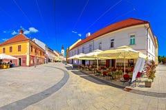 Ville de place de Cakovec et de vue panoramique de points de repère Image libre de droits