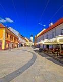 Ville de place de Cakovec et de vue panoramique de points de repère Images libres de droits