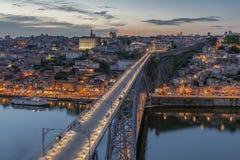 Ville de Porto la nuit Images libres de droits