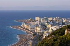 Ville de Rhodes au coucher du soleil, Grèce Images libres de droits