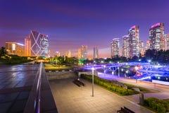 Ville de Séoul avec beau après coucher du soleil, Central Park au district des affaires international de Songdo, Incheon Corée du photo stock