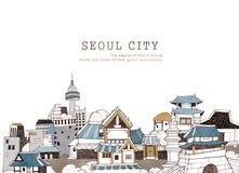 Ville de Séoul et architecture coréenne Image stock
