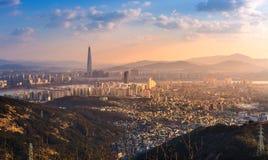 Ville de Séoul, horizon et gratte-ciel, Corée du Sud photographie stock