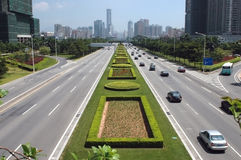 Ville de Shenzhen - avenue principale Photos stock