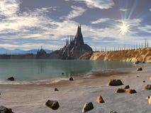 Ville de silicones du rivage illustration stock