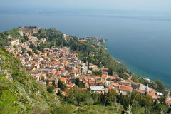 Ville de Taormina en Sicile, Italie Photo stock