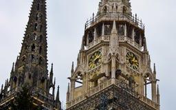 Ville de tour d'horloge de cathédrale de Zagreb Image stock