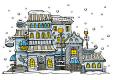 Ville de vecteur de bande dessinée enduite par la neige Photo libre de droits