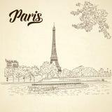 Ville de vecteur esquissant sur le fond de vintage Paris, Frances, Image stock