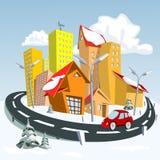 Ville de vecteur - hiver illustration stock