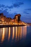 Ville de vieil horizon de ville de Danzig par nuit Image libre de droits