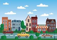 Ville de vieilles maisons Illustration avec des maisons dans une rangée Place pour le texte La vieille ville par jour Image libre de droits