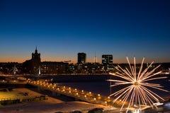 Ville de Vilnius : passerelle blanche Images stock