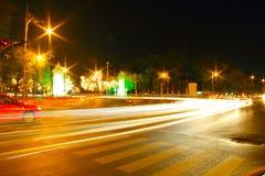 Ville de vitesse de la lumière de nuit Photographie stock libre de droits
