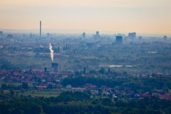 Ville de vue aérienne panoramique de Zagreb Image libre de droits
