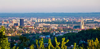 Ville de vue panoramique de Zagreb Photo stock
