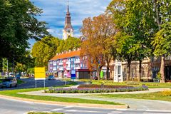 Ville de vue de rue de Virovitica Images libres de droits