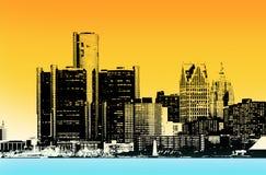 Ville du centre de Detroit images libres de droits