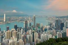 Ville du centre de Hong Kong d'affaires de bâtiment de bureau municipal de vue aérienne Photographie stock