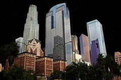 Ville du centre de nuit de bâtiments de Los Angeles Photographie stock