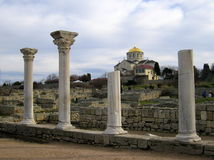 Ville du grec ancien le Chersonese La cathédrale de Volodimir Photographie stock libre de droits