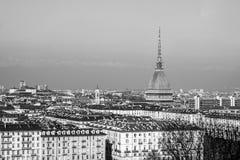 Ville du panorama d'horizon de Turin Torino vu de la colline - dynamique élevée HDR - noire et blanche Photographie stock libre de droits