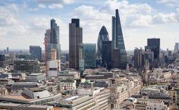 Ville du panorama de Londres, vue de cathédrale de St Paul Images libres de droits