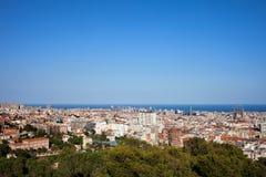 Ville du paysage urbain de Barcelone Photographie stock libre de droits