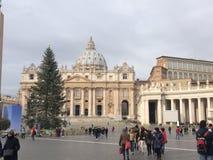 Ville du Vatican, Rome, touristes, arbre de Noël Photographie stock